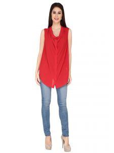 Soie Red Georgette Top For Women (code - 6165_i_red)
