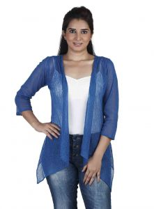 vipul,pick pocket,kaamastra,soie,unimod Shrugs, Short Jackets - Soie 34Th Embroidered Fabric Sleeves Jacket & Pannels, Uneven Hem(Product Code)_Jkt-01Blue_
