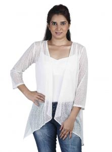 vipul,oviya,soie,kaamastra,parineeta,mahi,hoop Shrugs, Short Jackets - Soie 34Th Embroidered Fabric Sleeves Jacket & Pannels, Uneven Hem(Product Code)_Jkt-01Off White_