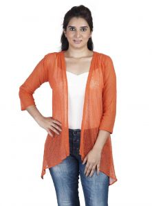 vipul,pick pocket,kaamastra,soie,unimod Shrugs, Short Jackets - Soie 34Th Embroidered Fabric Sleeves Jacket & Pannels, Uneven Hem(Product Code)_Jkt-01Orange_
