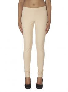 Hoop,Shonaya,Soie,Vipul,Kaamastra Women's Clothing - Soie Solid Leggings Available In Many Colours (Product Code)_L-16Beige 4_