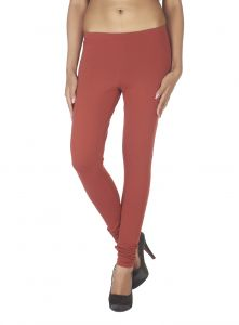 Lime,Surat Tex,Soie,Jagdamba,Sangini,Triveni,Oviya,Bikaw Women's Clothing - Soie Solid Leggings Available In Many Colours (Product Code)_L-16Brick 26_