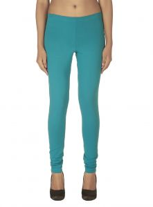 Soie,Unimod,Vipul,Kaamastra,Triveni Women's Clothing - Soie Solid Leggings Available In Many Colours (Product Code)_L-16Green 22_