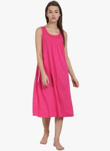 Surat Tex,Soie,Jagdamba,Sangini,Jpearls,Lime,Jharjhar,La Intimo Women's Clothing - Soie Womens Solid Sleep Shirt - (code - NT-63FUSCHIA)