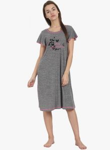 soie,unimod,vipul Nightgown Sets - Soie Womens Printed Sleep Shirt - (code - NT-62GREY SNOW)