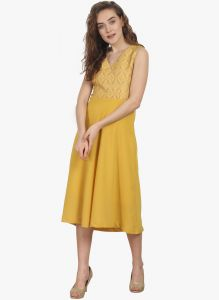soie,unimod,vipul Western Dresses - Soie Womens Jacquard Bodice And Solid Bottom Dress With Waist Cut - (code - 6832YELLOW)