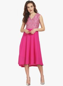 Vipul,Oviya,Soie Women's Clothing - Soie Womens Jacquard Bodice And Solid Bottom Dress With Waist Cut - (code - 6832D.PINK)