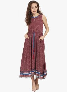 Soie Womens Sleeveless Printed Dress - (code - 6833red Print)