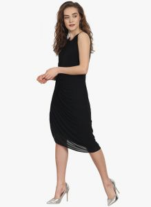Soie Womens Draped Dress With Side Embellishment - (code - 6863black)