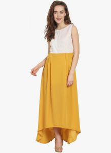 Soie,Unimod,Valentine Women's Clothing - Soie Womens Contrast Bottom And Textured Bodice - (code - 6870MUSTARD)