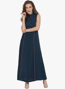 Soie,Unimod,Vipul,Kaamastra,Mahi,Surat Diamonds Women's Clothing - Soie Womens A-Line Maxi Dress - (code - 6873BLUE)