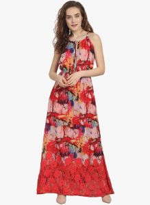 Hoop,Unimod,Kiara,Oviya,Surat Tex,Soie Women's Clothing - Soie Womens Printed Maxi Dress - (code - 6881ORANGE)