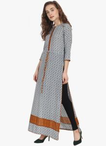 Soie Womens Printed Tunic - (code - 6918brown)