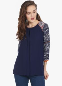 Soie Tops & Tunics - Soie Womens Navy-Blue Polyester Top - (code - 6710N.BLUE)
