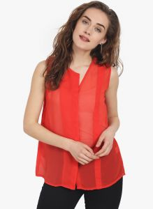 Soie Womens Red Polyester Top - (code - 6716(i)red)