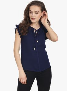 Avsar,Unimod,Lime,Clovia,Soie,Shonaya,Jpearls Women's Clothing - Soie Womens Navy-Blue Polyester Top - (code - 6718N.BLUE)