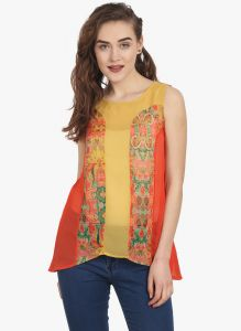 Soie Womens Yellow Polyester Top - (code - 6719(i)yellow)