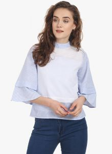 Soie Womens Blue Cotton Linen Top - (code - 6810blue)