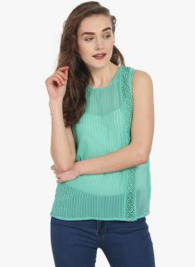 Soie Womens Sea Green Polyester Top - (code - 6761(i)sea Green)