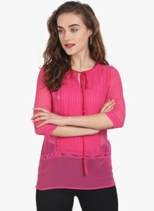 Soie Womens Pink Polyester Top - (code - 6773(i)pink)