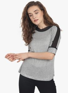 Lime,Surat Tex,Soie,Jagdamba Women's Clothing - Soie Womens Grey Polyester Top - (code - 6784GREY)
