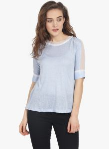 Soie Womens Blue Polyester Top - (code - 6784blue)