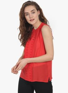 Lime,Surat Tex,Soie,Jagdamba Women's Clothing - Soie Womens Red Modal Top - (code - 6787(I)RED)