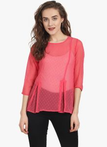 Soie Womens Dark Pink Polyester Top - (code - 6776(i)d.pink)