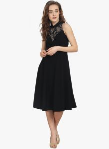 Soie Womens Flared Dress With Lace Cut Out Detailing - (code - 6868black)