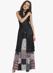 Soie Womens Printed Maxi Dress - (code - 6891black)