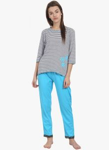 Soie Womens Printed Pajama Set - (code - Nt-48blue Alot)
