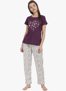 vipul,pick pocket,kaamastra,soie Night Suits - Soie Womens Printed Pajama Set - (code - NT-50LOVE BIRDS)