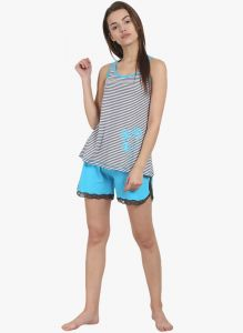 Avsar,Unimod,Lime,Clovia,Soie,Shonaya,Kaara,Surat Tex Women's Clothing - Soie Womens Stripes Shorts  Tee Set - (code - NT-49BLUE ALOT)