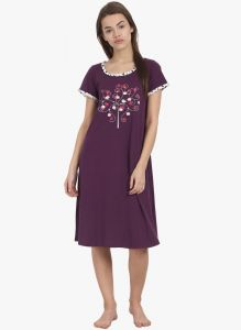 kiara,the jewelbox,jpearls,mahi,soie Sleep Wear (Women's) - Soie Womens Cotton Love Birds Printed Sleepshirt - (code - NT-51LOVE BIRDS)