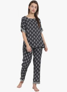 Soie,Flora,Oviya,Pick Pocket,Kalazone,Jpearls,Karat Kraft Women's Clothing - Soie Womens Ethnic Motif Print Pajamas Set - (code - NT-56ETHNIC)