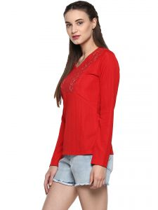 soie,port,ag Tops & Tunics - Soie Women's Red Lace Yoke Shimmer Top ( Code - 7179RED )