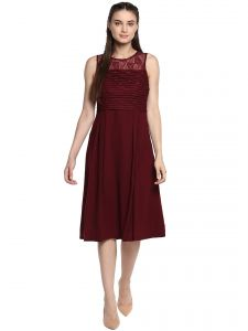 Soie,Flora,Shonaya Women's Clothing - Soie Women's Lace And Embelished Fit And Flare Dress ( Code - 7011MAROON )
