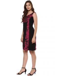 Soie,Ag,Sangini Women's Clothing - Soie Women's Jacqard And Soild Dress ( Code - 7013FUCHSIA/PINK )