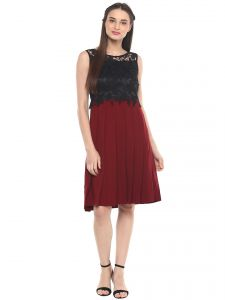 Avsar,Soie,Platinum,Diya,Ag,N gal Women's Clothing - Soie Women's Pleated Dress With Contrast Lace Bodice ( Code - 7034MAROON )