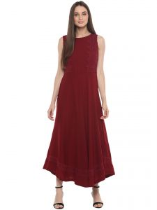 Soie,Flora,Oviya,Fasense,Sangini Women's Clothing - Soie Women's Lacy Skater Dress ( Code - 7057MAROON )