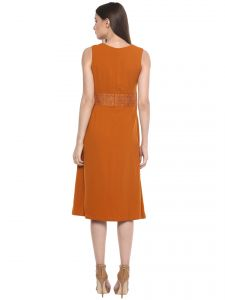 Vipul,Oviya,Soie,Avsar Women's Clothing - Soie Women's Lace Fancy Belt Pleated Dress ( Code - 7012LT. RUST )