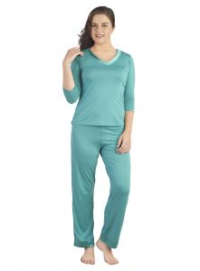 Soie Marine Spandex Night Suit For Women (code - Nt-12marine)