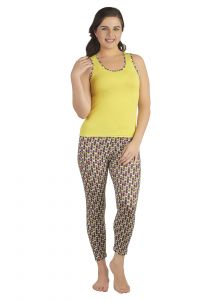 Soie Multicolor Cotton / Spandex Night Suit For Women (code - Nt-17circles)