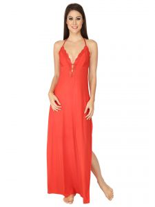 Soie Red Nylon Spandex Night Gown For Women (code - Nt-24red)