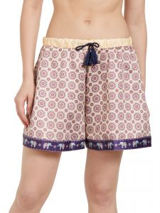 lime,surat tex,soie,diya,flora Sleep Wear (Women's) - Soie Women's  Printed Skirt Shorts with Printed Border and Tassel Drawcord (Code - NT-68APRICOT)