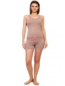 Soie Beige Cotton / Spandex Night Suit For Women (code - Nt-6beige&peach)