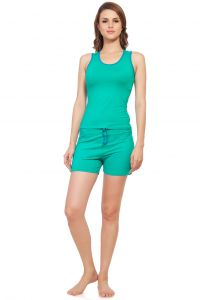 Soie Green/firozi Cotton / Spandex Night Suit For Women (code - Nt-6green&firozi)