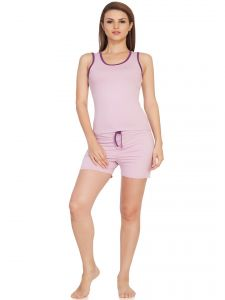 Soie Mauve/wine Cotton / Spandex Night Suit For Women (code - Nt-6mauve&wine)