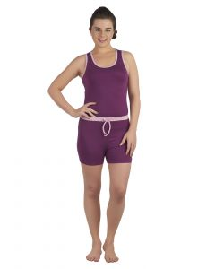 Soie Wine/mauve Cotton / Spandex Night Suit For Women (code - Nt-6wine&mauve)