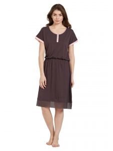 soie,unimod,oviya Sleep Wear (Women's) - Soie Women's Sleepshirt with Contrast Panels (Code - NT-72BEJWELLED)